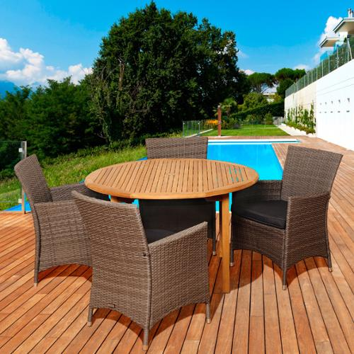 Amazonia Teak Margaret 5-piece Teak  Wicker Outdoor Dining Room Set by Overstock