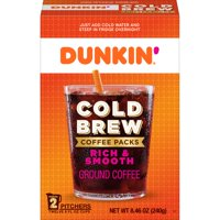 Dunkin' Cold Brew Coffee Packs, Smooth & Rich Ground Coffee, 8.46-Ounce (Packaging May Vary)