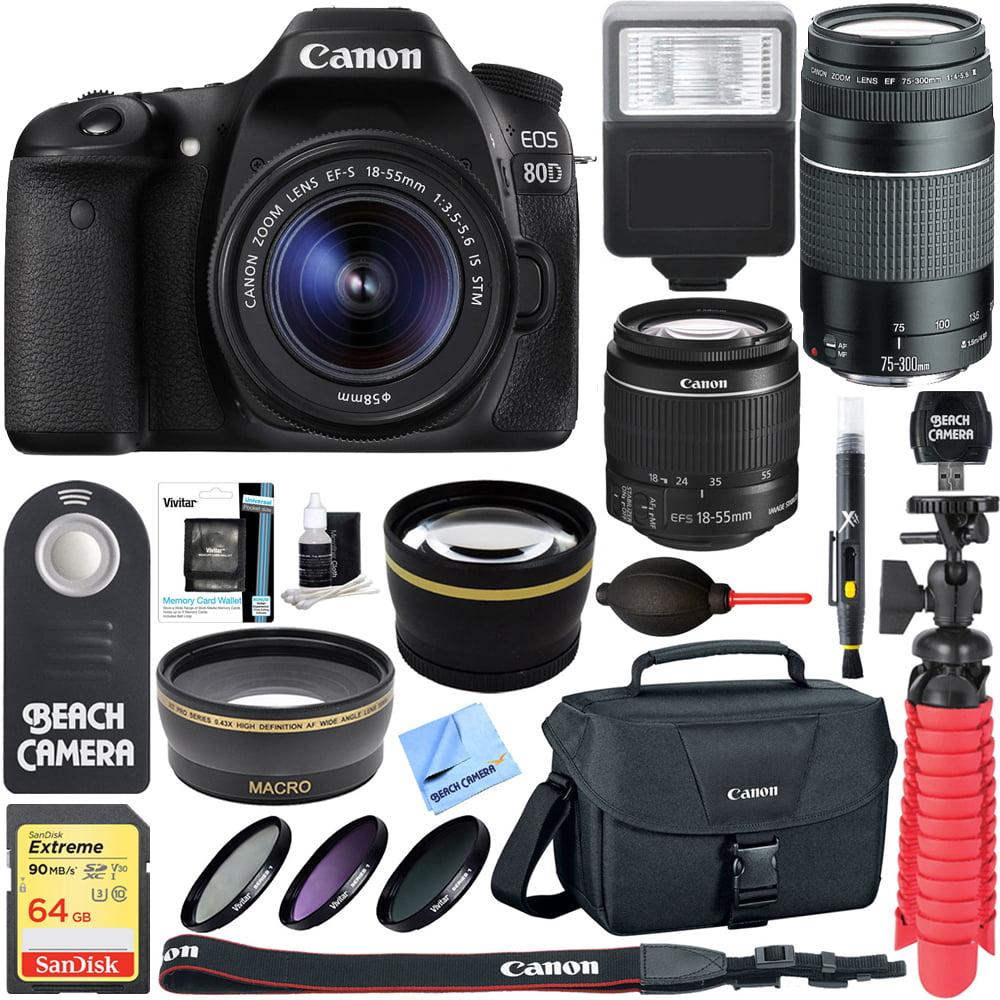 Canon EOS 80D CMOS DSLR Camera + EF-S 18-55mm IS STM & 75-300mm III Lens Kit + Accessory Bundle 64GB SDXC Memory + SLR Photo Bag + Wide Angle Lens + 2x Telephoto Lens + Flash + Remote + Tripod & More