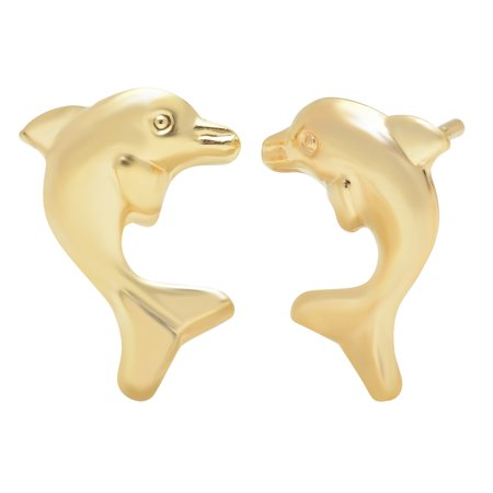 Jewelers 14K Solid Gold Dolphin Stud Earrings BOXED