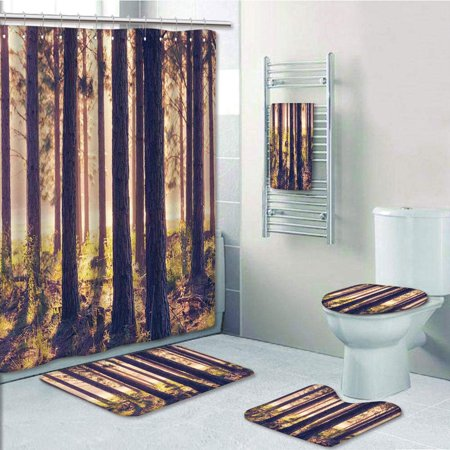 EREHome Forest Weak Afternoon Sunbeams Autumn Forest With Leaves Branches Sand 5 Piece Bathroom Set Shower Curtain Bath Towel Bath Rug Contour Mat and Toilet Lid Cover - image 1 of 2