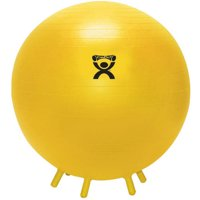 CanDo Non-Slip Inflatable Exercise Ball with Stability Feet (Yellow)