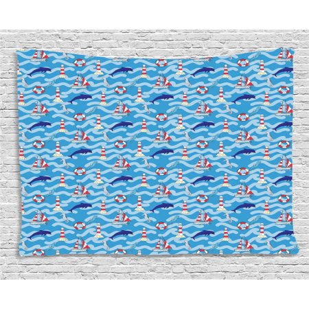 Lighthouse Tapestry, Wavy Lines Aquatic Elements Dolphins Seahorses and Boats Marine Summer, Wall Hanging for Bedroom Living Room Dorm Decor, 60W X 40L Inches, Blue Navy Blue Red, by Ambesonne