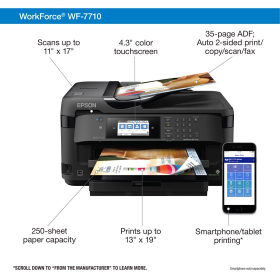 Epson WorkForce WF-7710 Wireless Wide-format Color Inkjet
