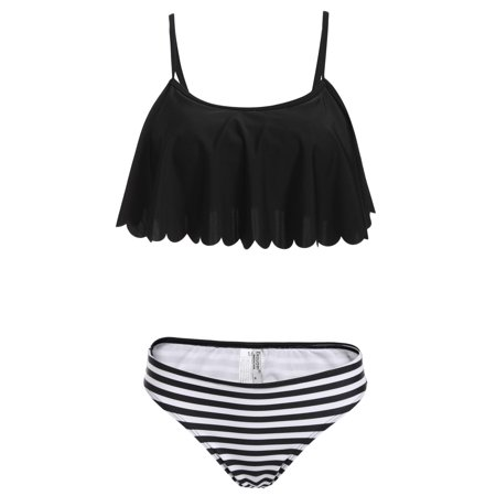 b8856810e9 Women Sexy Two Pieces Bikini Set Ruffled Swimwear Beach Wear ECBY -  Walmart.com