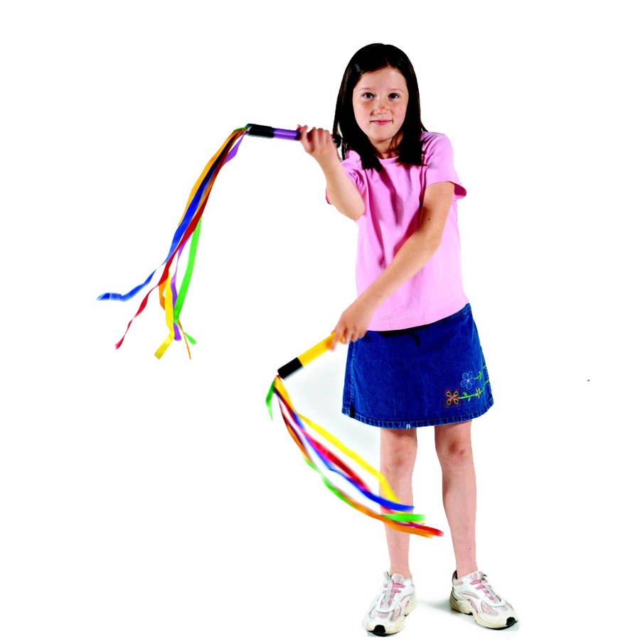 "Cramer Rainbow Ribbon Wand Set with 24"" Multi-Colored Ribbons and Sounds, 8"" Handles in Assorted Colors, Set of 6"