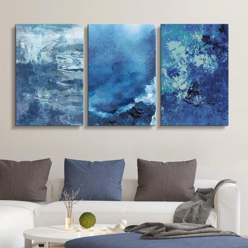 "wall26-3 Panel Canvas Wall Art - Abstract Blue Artworks - Giclee Print Gallery Wrap Modern Home Decor Ready to Hang - 24""x36"" x 3 Panels"