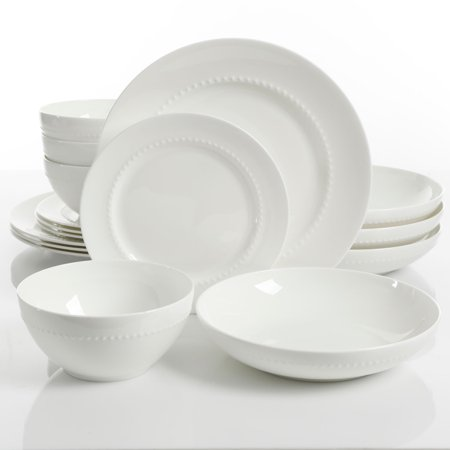 Gibson Elite Gracious Dining 16-Piece Bone China Double Bowl Dinnerware Set in White