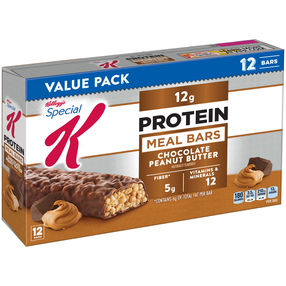 Kellogg's Special K Protein Meal Bar, Chocolate Peanut Butter, 12g Protein, 12 Ct