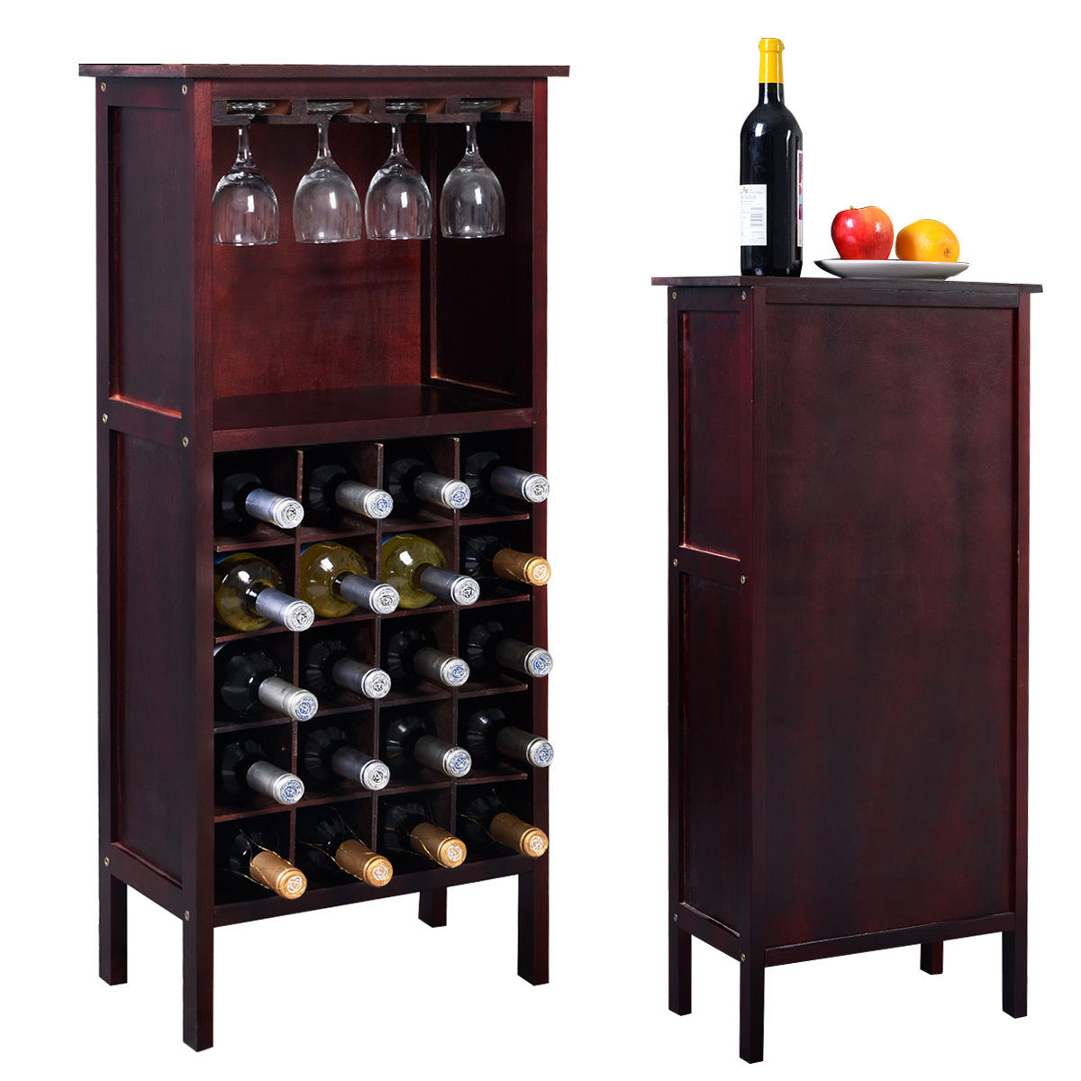 Costway Wood Wine Rack Holder Storage Shelf Display W Gl Hanger 20 Bottle Cabinet