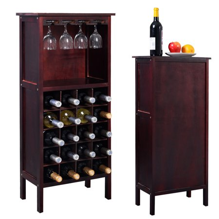Costway Wood Wine Rack Holder Storage Shelf Display w/ Glass Hanger (Wine Storage Shelves)