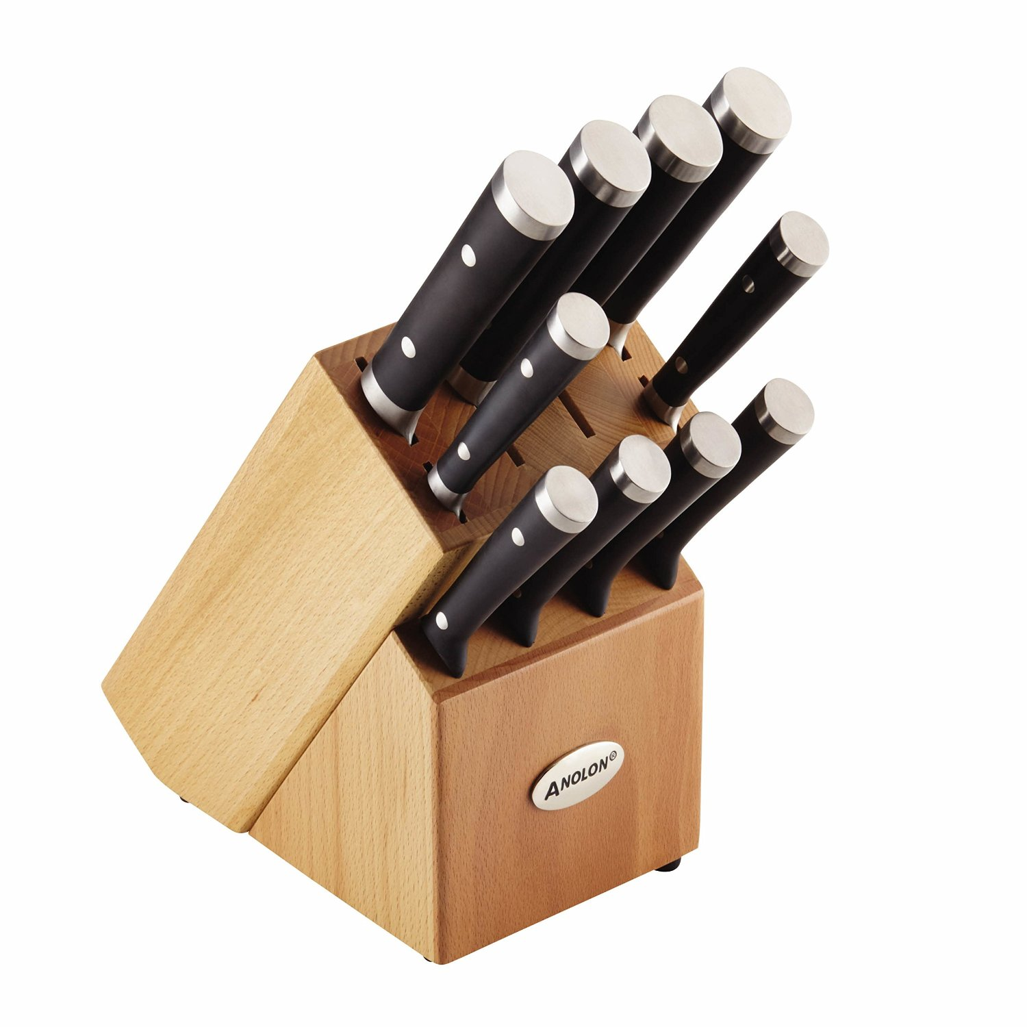 Anolon 11-Piece Japanese Stainless Steel Knife Set, Black