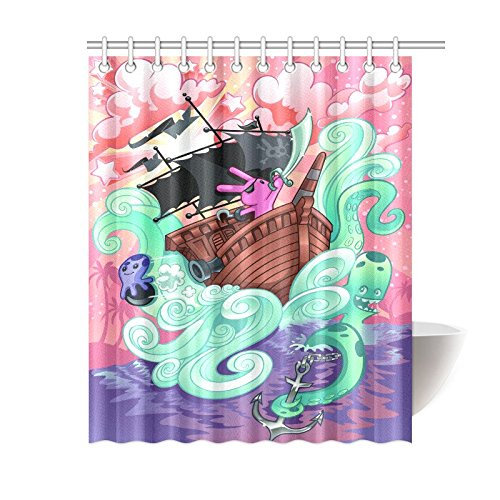 GCKG Pirate Ship Sea Octopus Shower Curtain Hooks 60x72 Inches Purple Pink Fabric A Rabbit Sailing On Stormy Ocean With Anchor Waves
