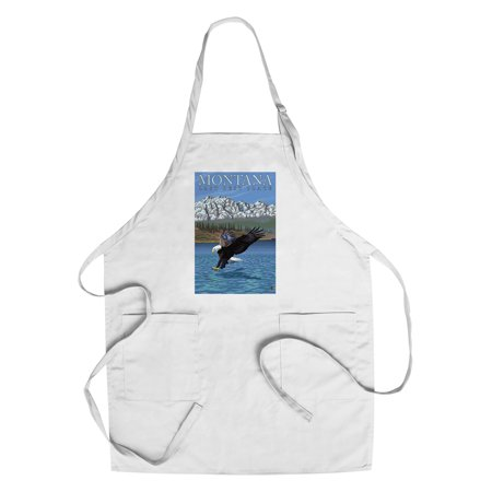 Montana  Last Best Place   Fishing Eagle   Lantern Press Original Poster  Cotton Polyester Chefs Apron