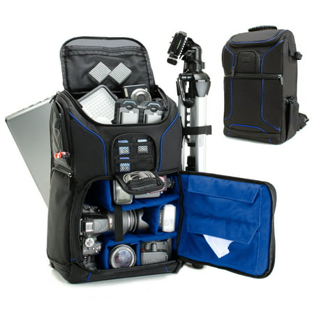 Digital Camera Holder - Digital SLR Camera Backpack (Blue) w/ Padded Custom Dividers , Tripod Holder , Laptop Compartment , Rain Cover and Accessory Storage by USA Gear for for Nikon , Canon , Sony , Pentax and Many More