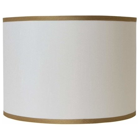 Urbanest Faux Silk Drum Lamp Shade, Off White With Gold Trim, (Braided Trim Shade)