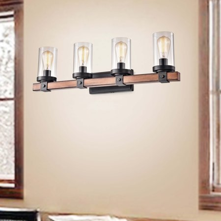 The Lighting Store Cynthia Natural Wood 4-Light Glass Cylinder Antique Black Wall Sconce - N/A