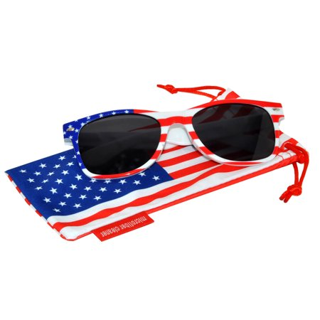 Classic American Patriot Sunglasses USA White American Flag Frame Smoke Lens OWL with American Flag Pouch - Make Your Own Sunglasses