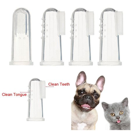 - 4pcs Dog Finger Toothbrush Dental Hygiene Finger Brushes for Small to Large Dogs Cats and Most Pets