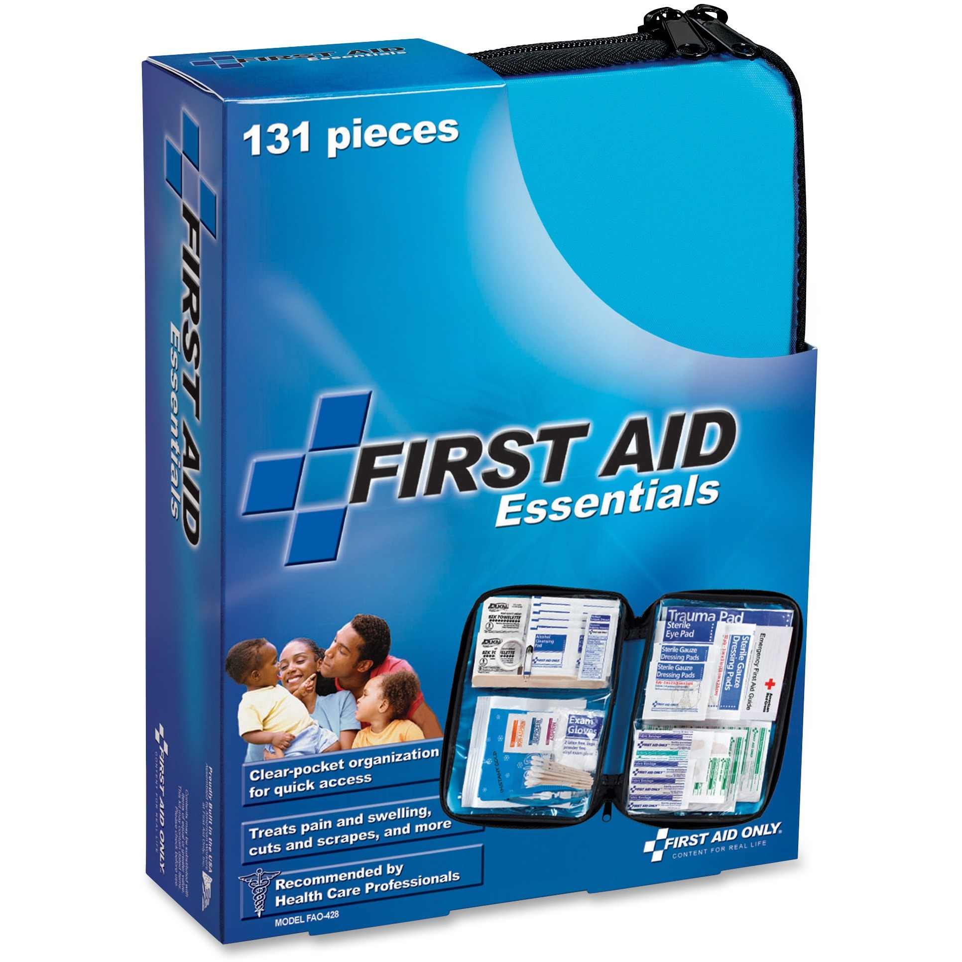 First Aid Only, FAO428, 131-piece Essentials First Aid Kit, 1 Each, Blue