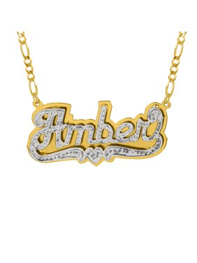 """Personalized Sterling Silver or Gold Plated Double Nameplate Necklace with Beading and Rhodium, 18"""" Silver Plated Figaro Chain"""
