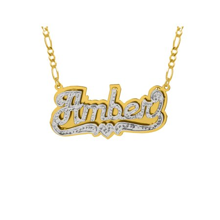 Personalized Sterling Silver or Gold Plated Double Nameplate Necklace with Beading and Rhodium, 18