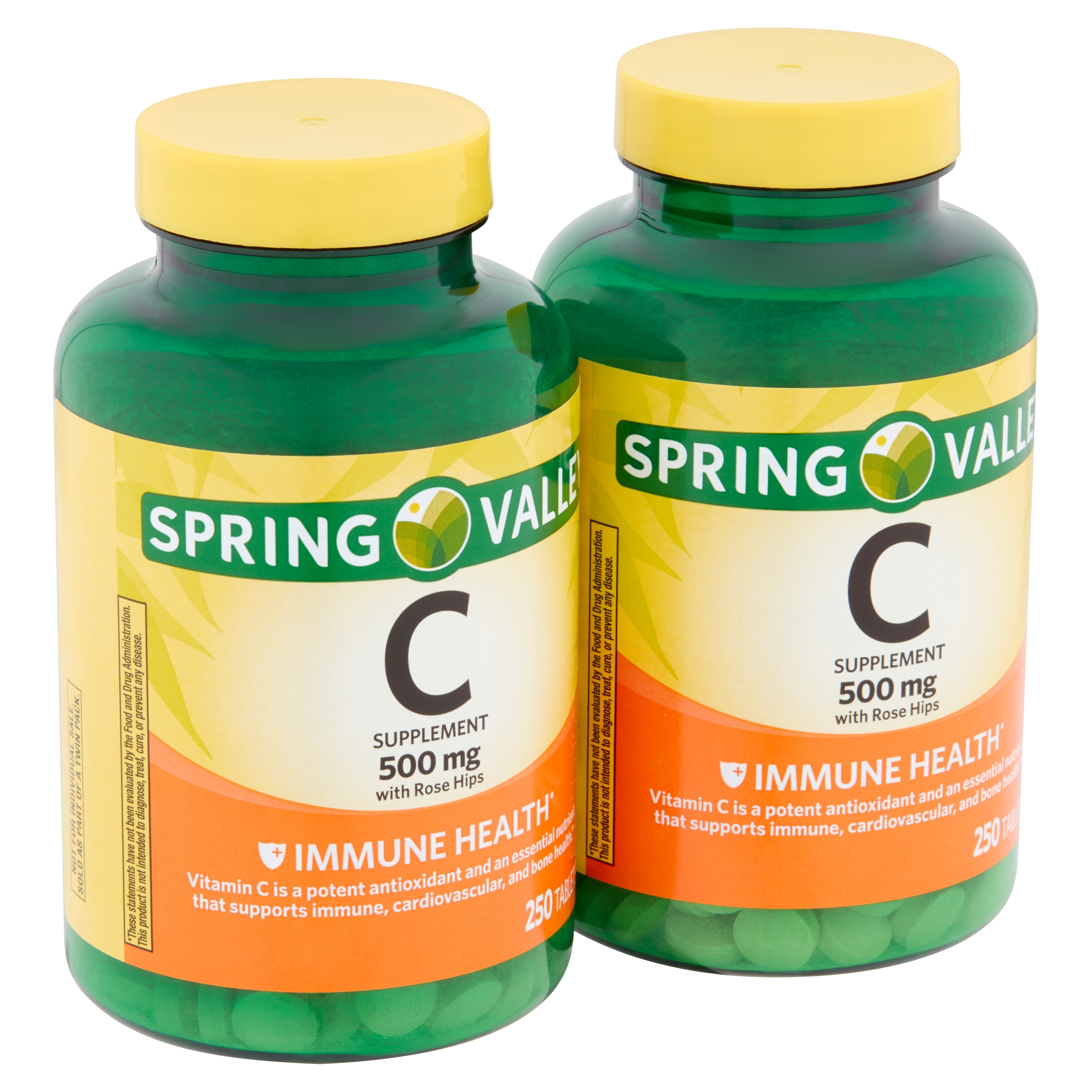 Spring Valley C Supplement with Rose Hips Tablets Twin Pack, 500 mg, 250 count, 2 pack