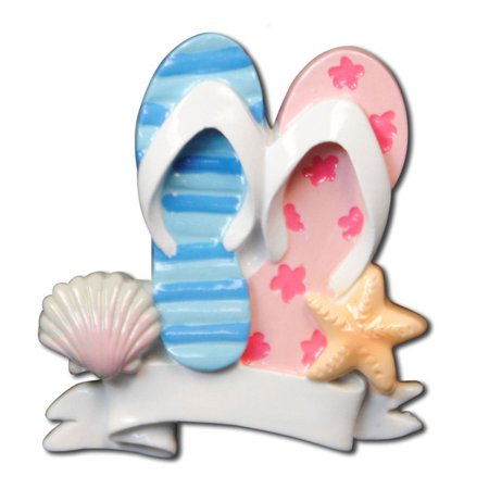 Flip Flop Travel Beach Family of 2  Personalized Christmas Ornament DO-IT-YOURSELF