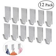 NUOLUX 12pcs Adhesive Stainless Steel Towel Hooks Towel Racks Wall Hooks for Kitchen Bathroom