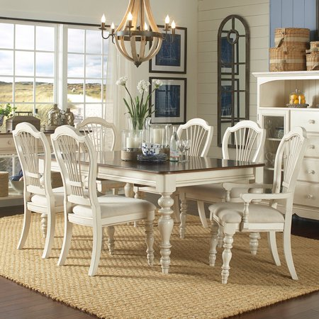 Hilale Furniture Pine Island 7 Piece Dining Set With Wheat Back Chairs