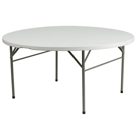 """60.5"""" White and Black Round Bi-Fold Outdoor Patio Folding Table with Carrying Handle"""