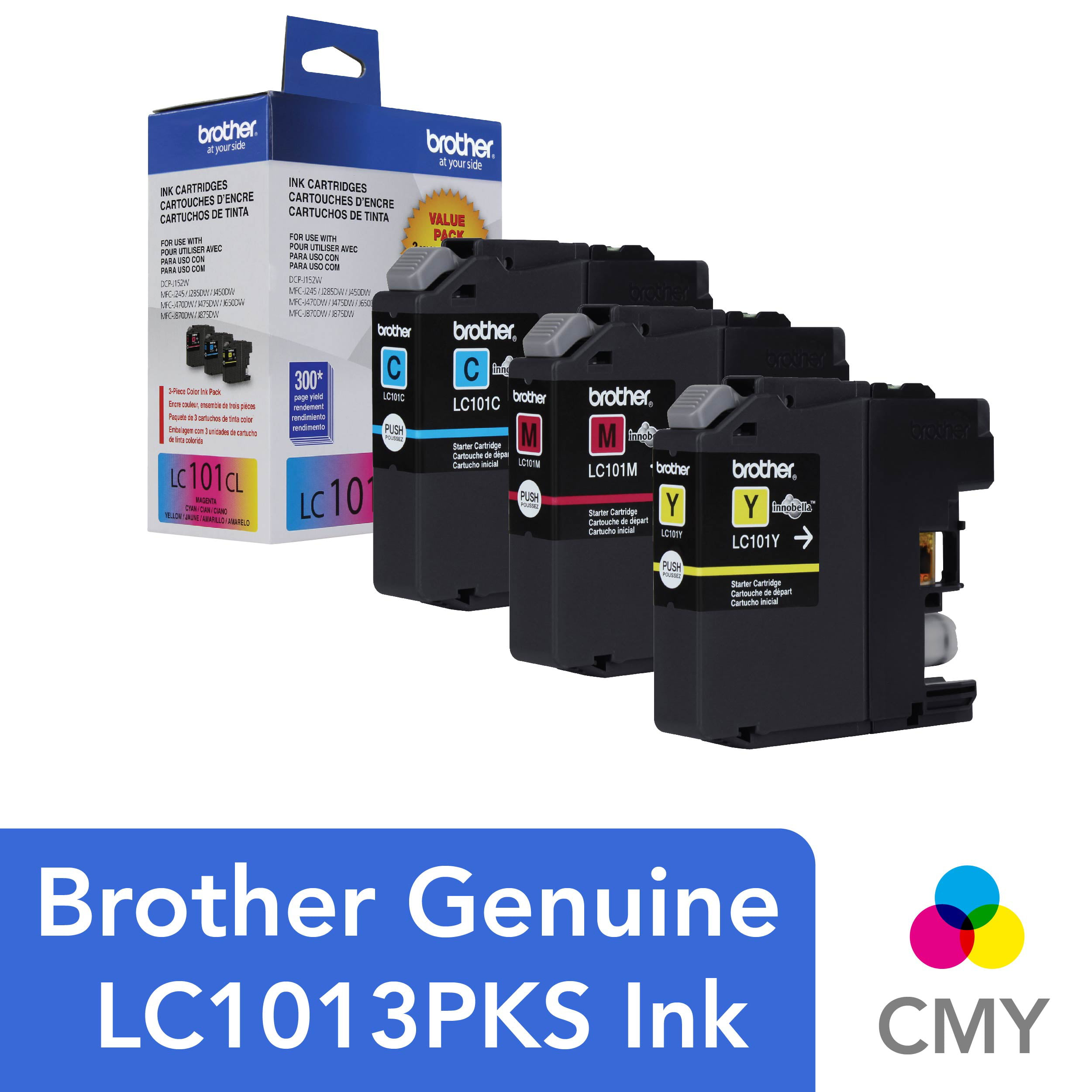 Brother Genuine Standard Yield Color Ink Cartridges, LC1013PKS, Replacement  Color Ink Three Pack, Includes 1 Cartridge Each of Cyan, Magenta & Yellow,