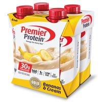 Premier Protein Shake, Bananas & Cream, 30g Protein, 11 Fl Oz, 4 Ct