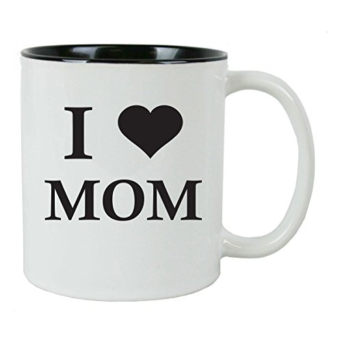 I Love Mom 11 oz White Ceramic Coffee Mug (Black) with FREE Gift Box - Great Gift for Mothers's Day Birthday or Christmas Gift for Mom Grandma Wife
