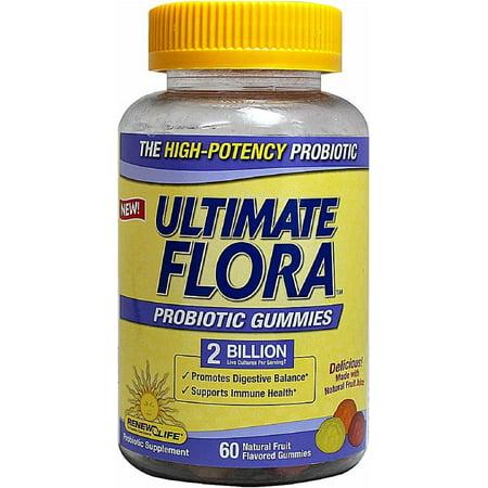 ReNew Life Ultimate Flora Probiotic Gummies 2 Billion, Natural Fruit Flavors 60 ea (Pack of 2)