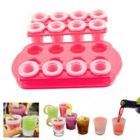 12 Ice Shot Glass Maker Frozen Mold Cold Tray Party Bar Alcohol Shooter Plastic by KOLE IMPORTS