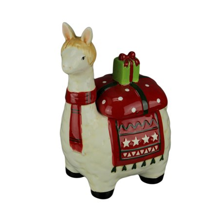 White and Red Ceramic Holly Holiday Llama Cookie Jar ()
