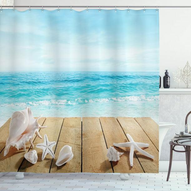 Seashells Decor Shower Curtain Set Wooden Boardwald With Seashells Resort Sunshine Vacations Maldives Deck Waves Beach Theme Bathroom Accessories 69w X 70l Inches By Ambesonne Walmart Com Walmart Com