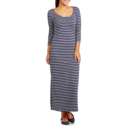 Just love women s elbow sleeve striped knit midi dress walmart com