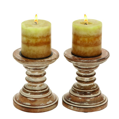 Candle Stands Wood Candle Holder Pair by Benzara