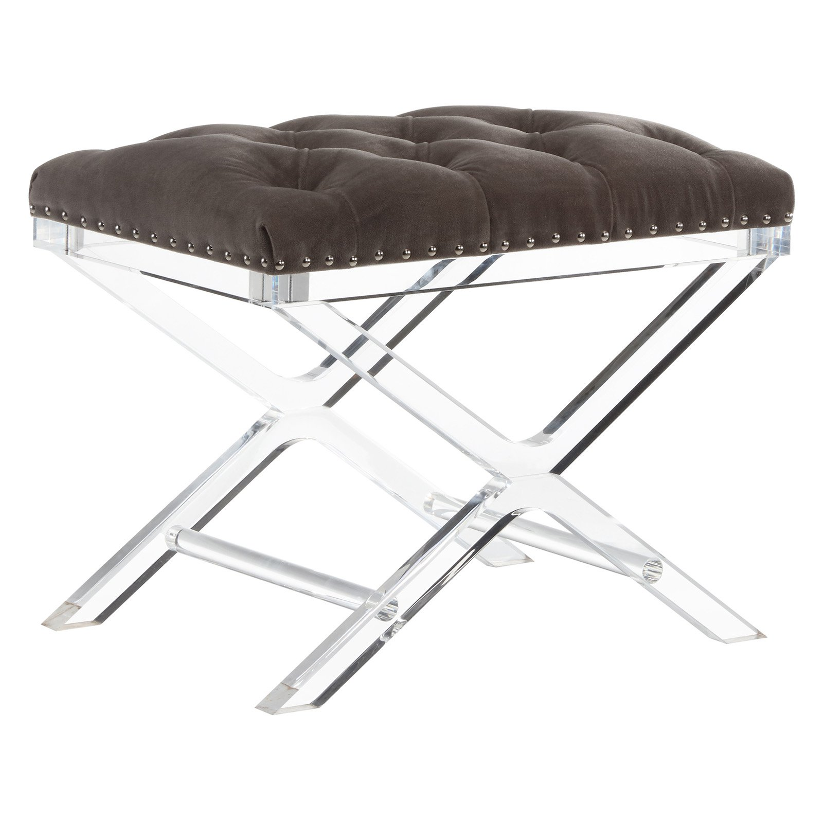 !nspire Velvet Tufted Bench with Acrylic Legs