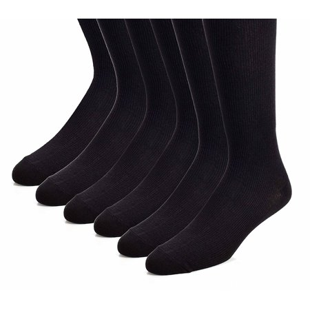 The Right Fit Men's Nylon, Loafer, Work, Mid Calf Ribbed, Crew Style Dress - Crew Ribbed Dress Socks