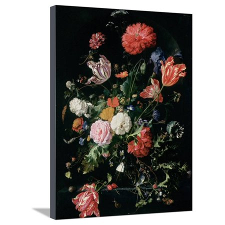 Flowers in a Glass Vase, C.1660 Dutch Baroque Dark Flower Floral Painting Stretched Canvas Print Wall Art By Jan Davidsz. de Heem ()