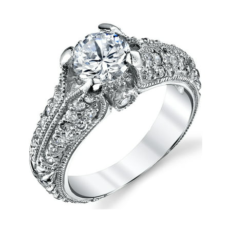 Sterling Silver Cubic Zirconia 1 25 Carat Tw Vintage Engagement Ring Wedding Bridal Band