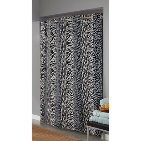 Curtains Ideas black cloth shower curtain : Hookless Animal Print Fabric Shower Curtain, Black/White - Walmart.com