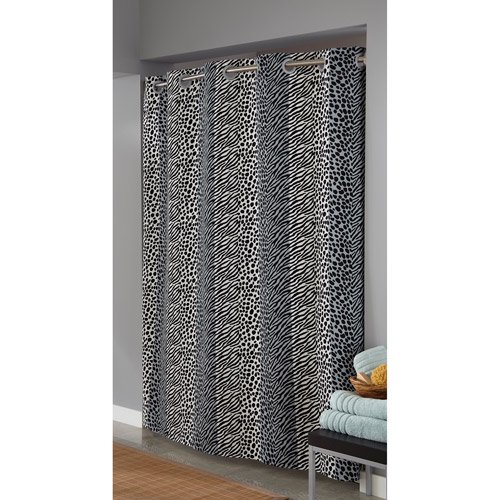 Hookless Animal Print Fabric Shower Curtain Black White