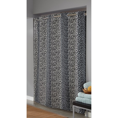 Attractive Hookless Animal Print Fabric Shower Curtain, Black/White