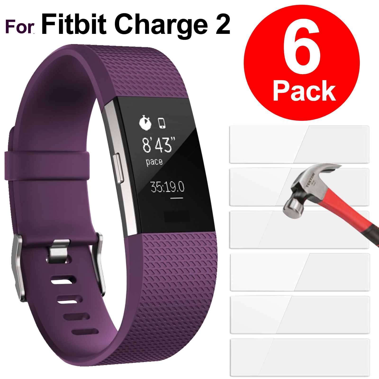 6Pcs HD Clear Screen Protectors Film Cover Shield for Fitbit Charge 2