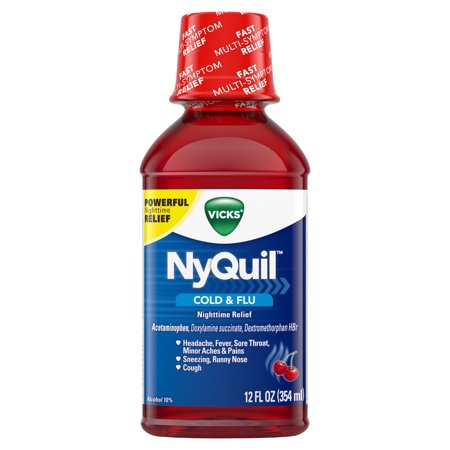 Vicks NyQuil, Nighttime Cold & Flu Symptom Relief, Relives Aches, Fever, Sore Throat, Sneezing, Runny Nose, Cough, 12 Fl Oz, Cherry