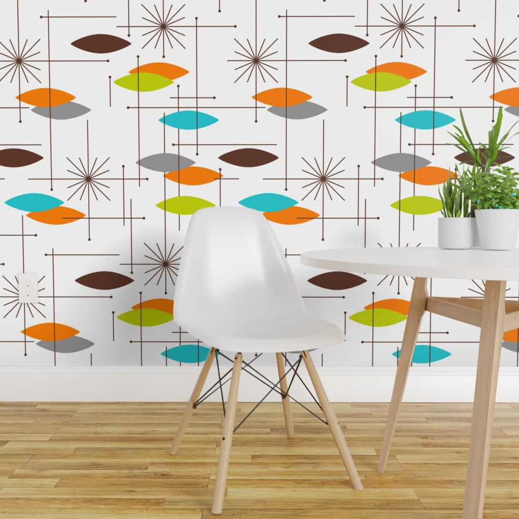 Removable Water-Activated Wallpaper Mid Century Modern ...